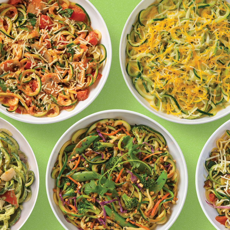 A variety of colorful noodle dishes
