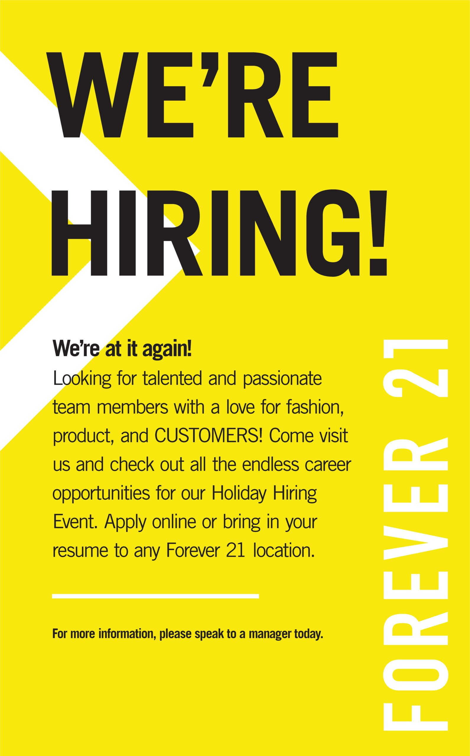 Forever 21 Is Hiring!
